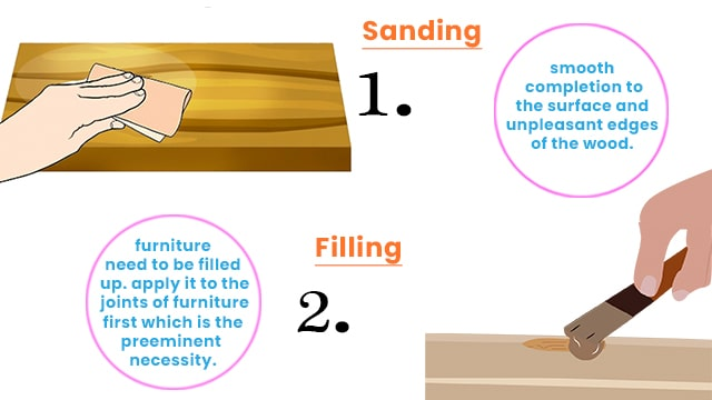 sanding the surface of veneer or wood and filling the necessary repairs